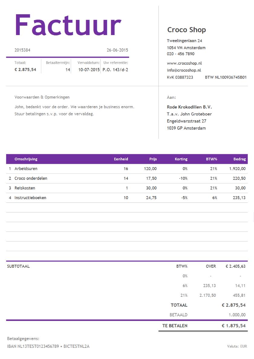 blanco factuur downloaden Blanco Factuur | gantinova